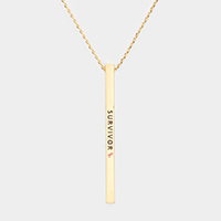 Survivor Pink Ribbon Metal Bar Pendant Necklace