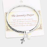 The Serenity Prayer Embossed Charm Metal Bracelet