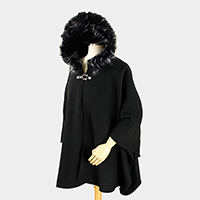 Fur Hoody Cape with Buckle