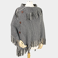 Button Deco Two Tone Knit Poncho