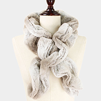 Ruffle Pull Through Ombre Fur Scarf