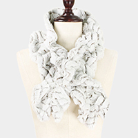 Ruffle Pull Through Fur Scarf