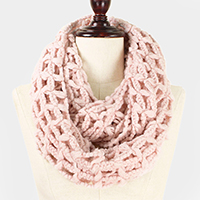 Solid Color Net Infinity Scarf