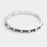 Embossed Rhinestone Metal Stretch Bracelet