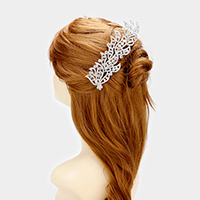 Crystal Rhinestone Leaf Hair Comb