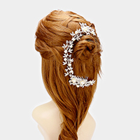 Crystal Rhinestone Flower Pearl Bun Wrap Headpiece