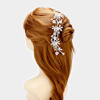 Crystal Rhinestone Flower Hair Comb
