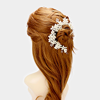 Crystal Rhinestone Pearl Flower Bun Wrap Headpiece