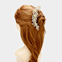 Crystal Rhinestone Rose Hair Comb