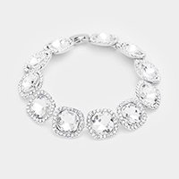 Crystal Rhinestone Trim Square Glass Stone Evening Bracelet