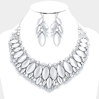 Cloudy Oval Stone Cluster Vine Marquise Evening Necklace