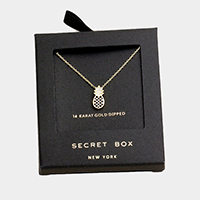 Secret Box _ 14K Gold Dipped CZ Pineapple Pendant Necklace
