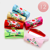 12 PCS - Embroidery Flower Print Mirror Lipstick Cases