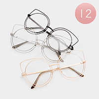 12 PCS - Oversized Layered Frame Cat Eyes Clear Sunglasses