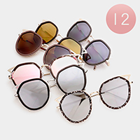 12 PCS - Oversized Accented Frame Sunglasses