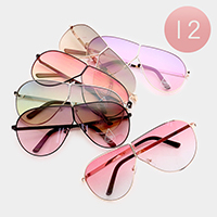 12 PCS - Oversized Oceanic Color Lens Sunglasses