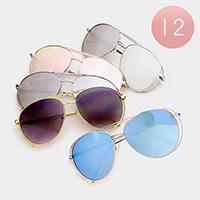 12 PCS - Oversized Layered Frame Sunglasses