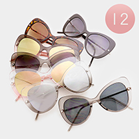 12 PCS - Oversized Bow Shaped Sunglasses