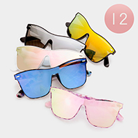 12 PCS - Oversized Accented Frame Edge Sunglasses