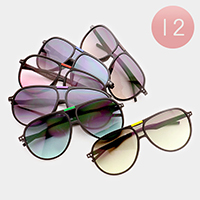 12 PCS - Oversized Aviator Sunglasses