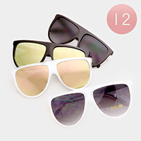 12PCS - Oversized Mirror Lens Retro Sunglasses