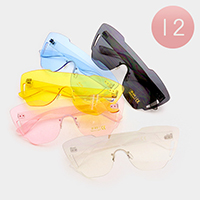12 PCS - Oversized Frameless Aviator Sunglasses