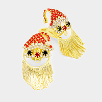 Rhinestone Santa Claus Fringe Tassel Clip on Earrings