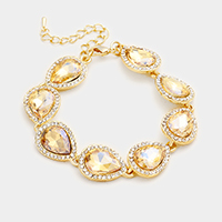Crystal Rhinestone Trim Teardrop Glass Stone Evening Bracelet
