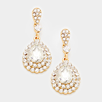 Crystal Rhinestone Trim Glass Teardrop Stone Evening Earrings