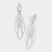 Pave Crystal Rhinestone Marquise Clip on Earrings