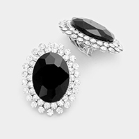 Crystal Rhinestone Trim Glass Oval Evening Earrings