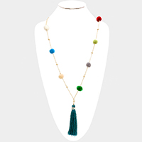 Multi Color Pom Pom Drop Tassel Long Necklace