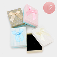 12 PCS - Bow Deco Stripe Hard Jewelry Gift Boxes