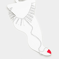 Crystal Rhinestone Bar Fringe Anklet Toe Ring Foot Chain