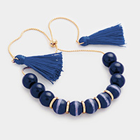 Beaded Double Tassel Bracelet