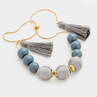 Beaded Triple Thread Ball Double Tassel Bracelet