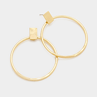 Rectangle Hoop Metal Earrings