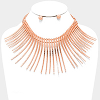 Curved metal bar fringe armor necklace