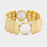 Rectangular Accented Round Metal Stretch Bracelet