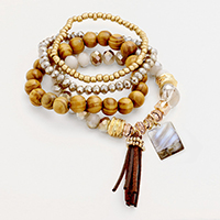 4 PCS - Multi Layered Suede Strand Bead Bracelets