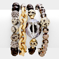 4 PCS -  Multi Bead Accent Fireball Stretch Strand Stretch Bracelets
