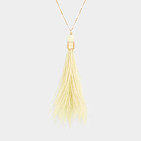 Bead Drop Feather Pendant Necklace