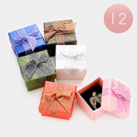 12 PCS - Bow Deco Flower Print Hard Jewelry Gift Boxes