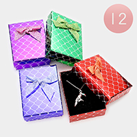 12 PCS - Bow Deco Geometric Pattern Hard Jewelry Gift Boxes
