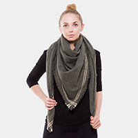 Solid Lined Square Blanket Scarf