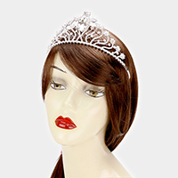 Rhinestone Trim Accent Oval Glass Pageant Queen Tiara