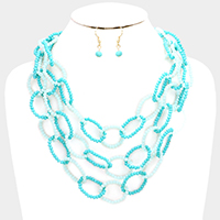 Layered Beaded Oval Bib Necklace