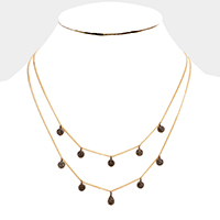 Layered Chain Disc Dangle Necklace