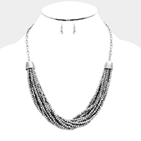 Multi Layered Cubic Metal Bead Necklace