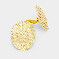 Textured Oval Clip on Earrings